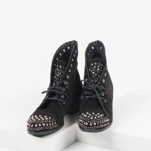 Велурени дамски боти в черен цвят-201647