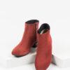 Велурени дамски боти в червен цвят-981214