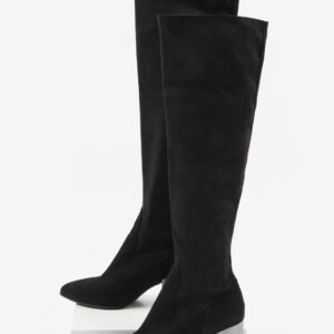 Велурени дамски ботуши в черен цвят-168067