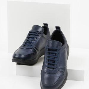 Кожени мъжки обувки в син цвят-061471