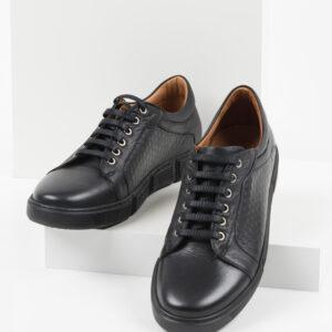 Кожени мъжки обувки в черен цвят-0420113