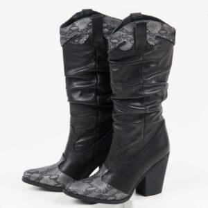 Стилни каубойски ботуши в черен цвят-038510