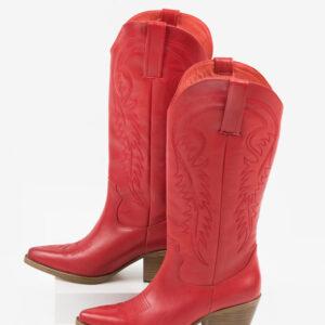 Стилни каубойски ботуши в червен цвят-038605
