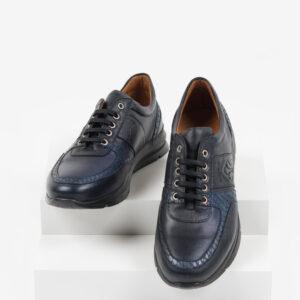 Кожени мъжки обувки в син цвят-0420117