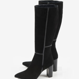 Велурени дамски ботуши в черен цвят-4812502