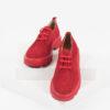 Велурени дамски обувки в червен цвят-141012RED