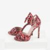 Кожени дамски сандали в червен и бял цвят-482767