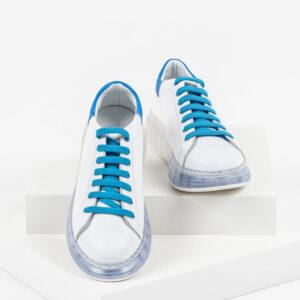 Кожени дамски обувки в бял и син цвят-2920078