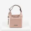 Кожена дамска чанта в розов цвят-725393-1