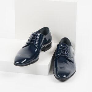 Лачени мъжки обувки в син цвят-281505