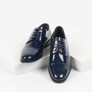 Лачени мъжки обувки в син цвят-281510-2