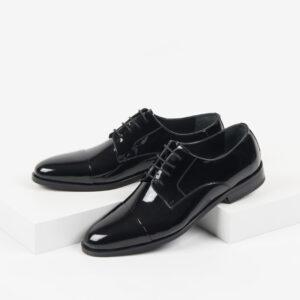 Лачени мъжки обувки в черен цвят-281510-2