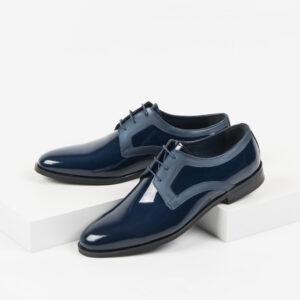 Лачени мъжки обувки в син цвят-281510