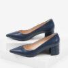 Кожени дамски обувки в син цвят-241095