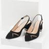 Велурени дамски сандали в черен цвят-481140