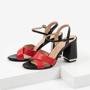 Кожени дамски сандали в черен и червен цвят-487616