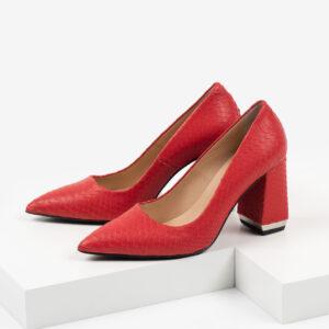 Кожени дамски обувки в червен цвят-481148