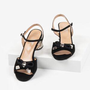Велурени дамски сандали в черен цвят-481114