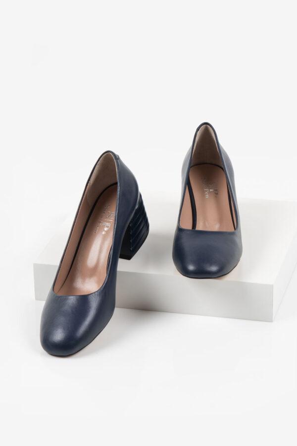 Кожени дамски обувки в син цвят-160557