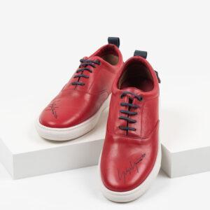 Кожени мъжки обувки в червен цвят-281056