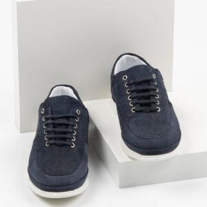 Велурени мъжки обувки в син цвят-0430135