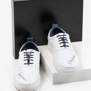 Кожени мъжки обувки в бял цвят-281056