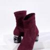 Велурени дамски боти в бордо цвят-240690