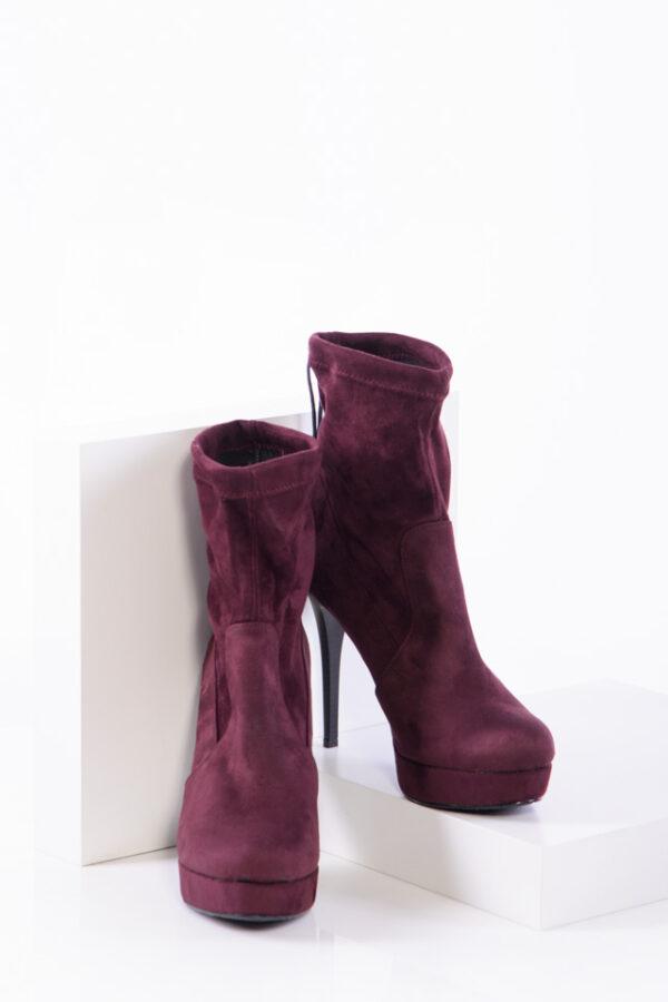 Дамски боти в бордо цвят-350414