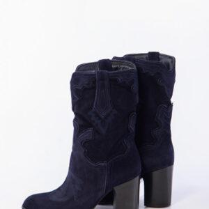 Велурени каубойски боти в син цвят-983910