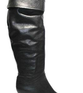 Кожени дамски ботуши в черно-988501