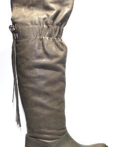 Кожени дамски чизми в сиво-982004