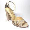 Змийски дамски сандали в бежово-593649