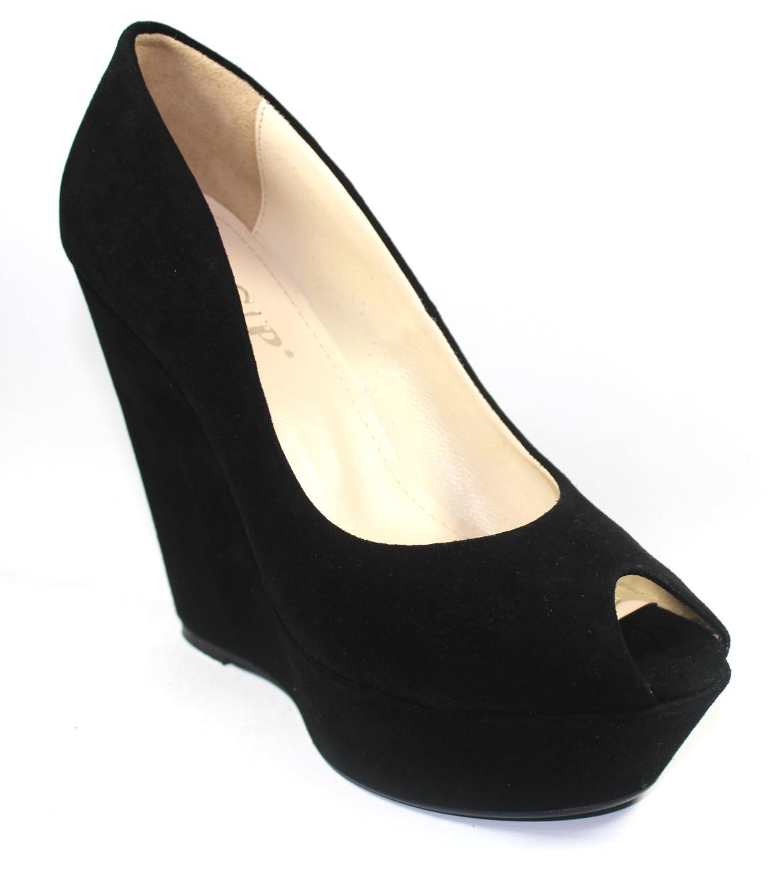 Черни дамски обувки с висока платформа-115863