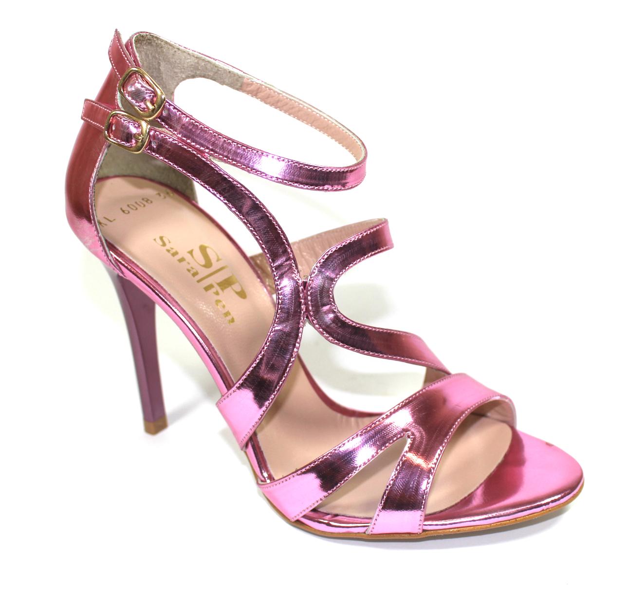 Официални дамски сандали в розово-486008
