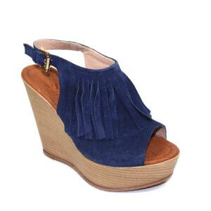 Сини дамски сандали с платформа-480403