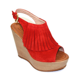 Червени дамски сандали с платформа-480403