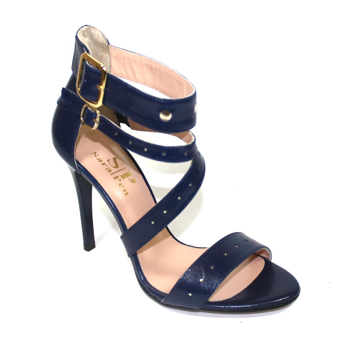 Тъмносини кожени сандали-486015
