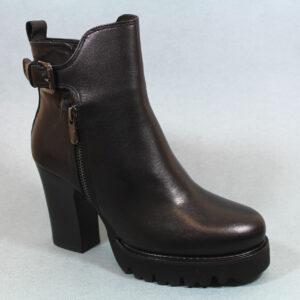 Дамски боти с висок стабилен ток в черен цвят-481814