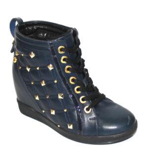 Сини дамски боти с платформа-0811021